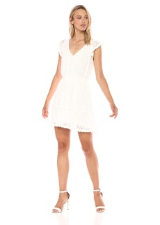 cupcakes and cashmere Women's Dailey Lace V-Neck Fit and Flare Dress