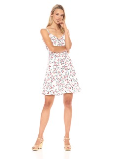 cupcakes and cashmere Women's Dennis Floral Print Fit and Flare Dress