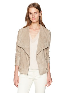 cupcakes and cashmere Women's Finleigh Drape Front Fauz Suede Jacket