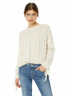 cupcakes and cashmere Women's Gus Slouchy Pointelle Sweater w/lace up Details  Extra Small