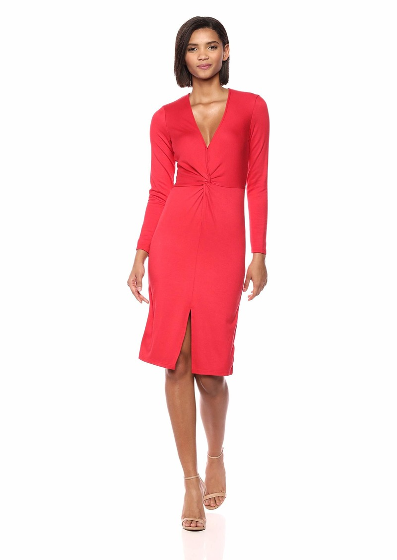 cupcakes and cashmere Women's Janette Long Sleeve Interlock Knit Twist Dress Salsa red