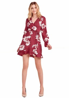 cupcakes and cashmere Women's Jarrett Winter Magnolia Printed Reverse Crepon wrap Dress Earth red
