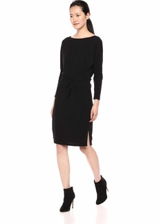 cupcakes and cashmere Women's Jenilee Textured Rib Knit Dress w/Boat Neck and Waist tie