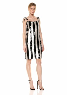 cupcakes and cashmere Women's Johan Vertical Stripe Three Color Sequin Dress