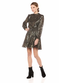 cupcakes and cashmere Women's Jola Foiled Chiffon Dress w/Open Back and tie