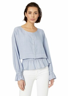 cupcakes and cashmere Women's Juniper Yarn Dyed Rayon Stripe Layered Blouse