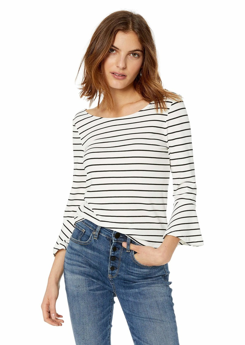 9984483b cupcakes and cashmere Women's Kacela Yarn Dyed Stripe w/Ruffle Sleeve Extra  Small