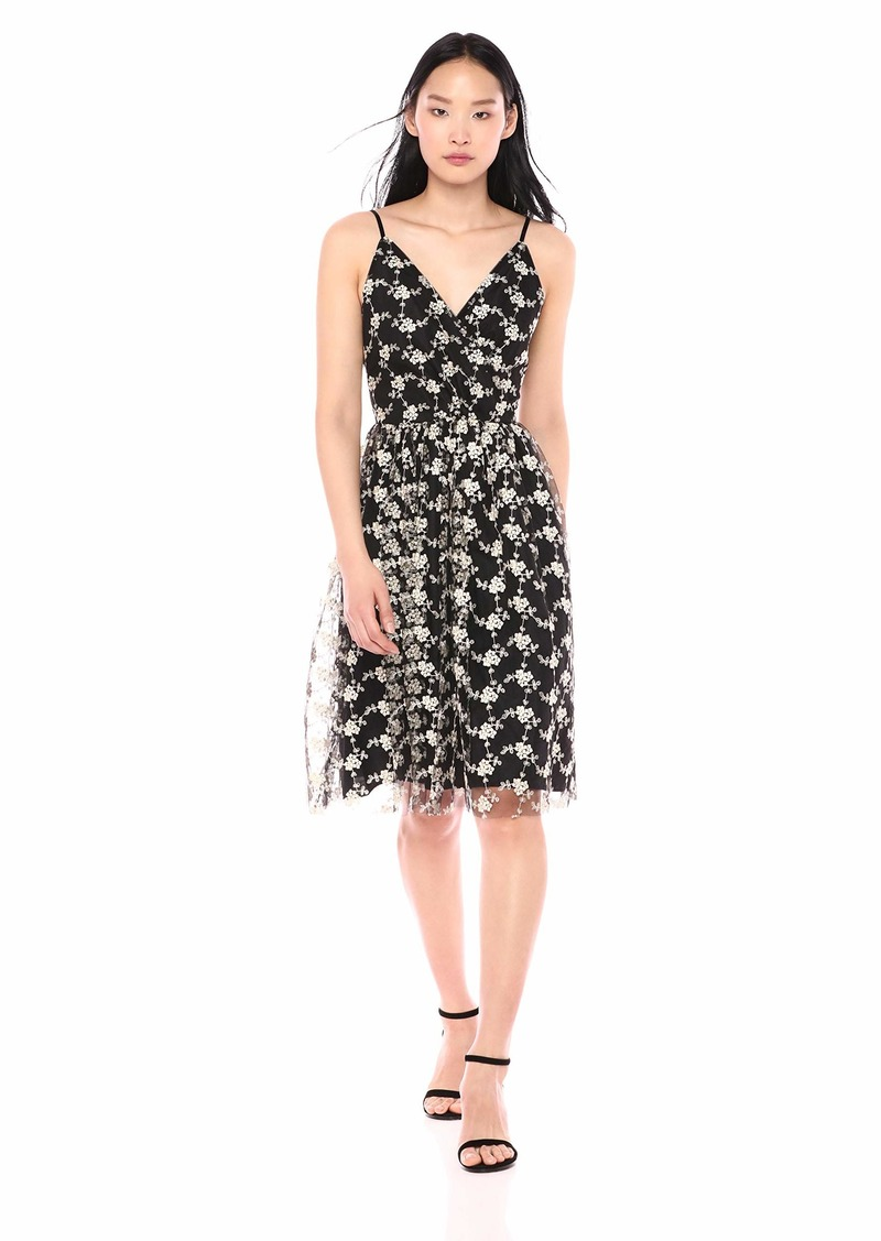cupcakes and cashmere Women's Kaelyn Embroidered mesh fit & Flare midi