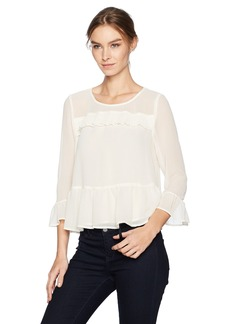 a37b2bc7 cupcakes and cashmere Women's Katlyn Crinkle Gauze Peplum Pleated Ruffle  Trim Top