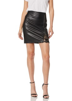cupcakes and cashmere Women's Kayson Vegan Leather Pencil Skirt w/lace Inset