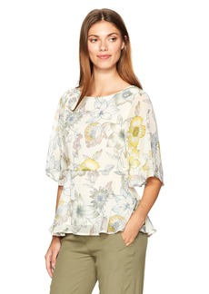 cupcakes and cashmere Women's Keenan Floral Printed Peplum Blouse