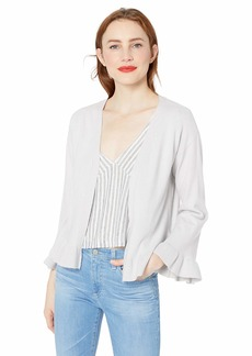 cupcakes and cashmere Women's Kezia Cardigan with Sleeve and Hem Flounce Heather ash Extra Small