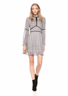 cupcakes and cashmere Women's Laurena deliliah Ditsy Printed Dress w/Velvet Contrast