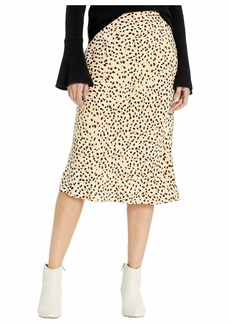 cupcakes and cashmere Women's Lorelai Natural Waist Soft Satin midi Skirt
