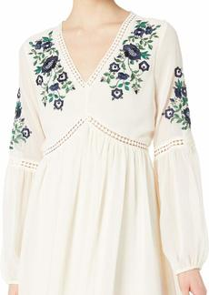 cupcakes and cashmere Women's Lynsey Chiffon Peasant Dress with Floral Embroidery  Extra Small