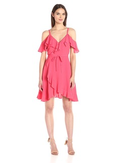 cupcakes and cashmere Women's Morena Ruffle Cold Shoulder Wrap Dress