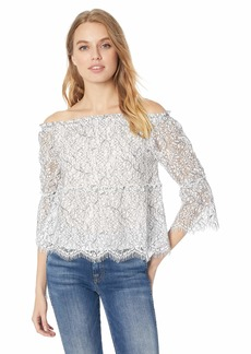 926de6db cupcakes and cashmere Women's Nichols Two Tone Lace Off The Shoulder Top