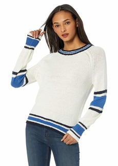 cupcakes and cashmere Women's pipper Crew Neck Sweater with Multi Stripe Details  Extra Small