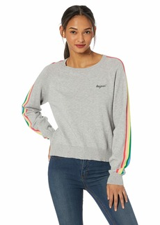 cupcakes and cashmere Women's Portland Embroidered Sweater with Rainbow Sleeve Detail Heather ash