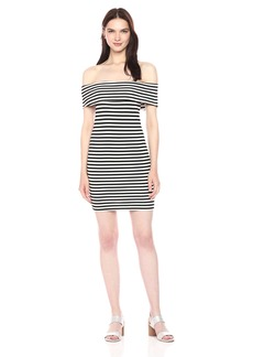 cupcakes and cashmere Women's Portola Striped Ponte Bodycon Off The Shoulder Dress