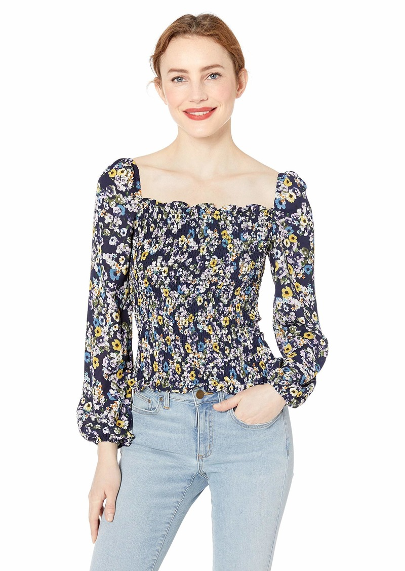 cupcakes and cashmere Women's Royce Printed CDC Smocked Blouse  Extra Small