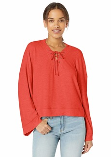 cupcakes and cashmere Women's soma Brushed Knit Oversized lace up v-Neck Pullover