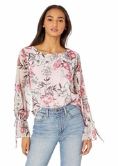 cupcakes and cashmere Women's Terra Printed Textured Chiffon Button Back Blouse