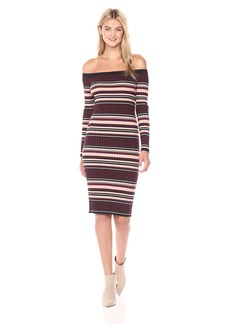 cupcakes and cashmere Women's Tommy Striped Off The Shoulde Sweater Midi Dress