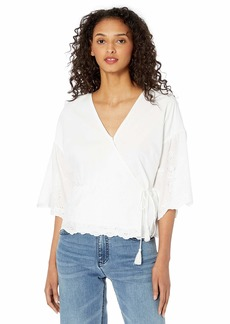 cupcakes and cashmere Women's Viva Eyelet Embroidered Cotton wrap top
