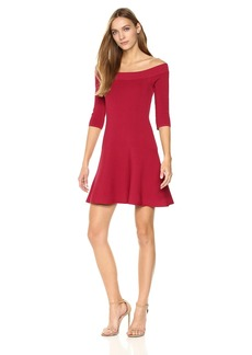 cupcakes and cashmere Women's Whitley Off The Shoulder Sweater Flounce Dress