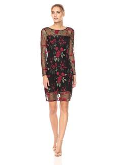 cupcakes and cashmere Women's Zabrina Floral Embroidered Dress