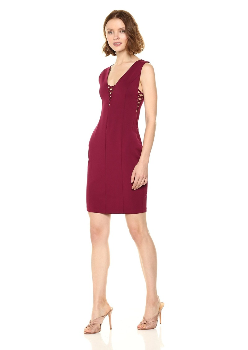 cupcakes and cashmere Women's Zody Lace up Detail Dress Beet red