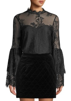 cupcakes and cashmere Davey Lace Bell-Sleeve Illusion Blouse