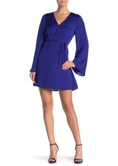 cupcakes and cashmere Kaidence Satin Bell Sleeve Wrap Dress