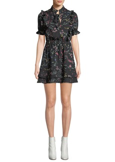 cupcakes and cashmere Karolina Floral Short Dress with Ruffle Trim