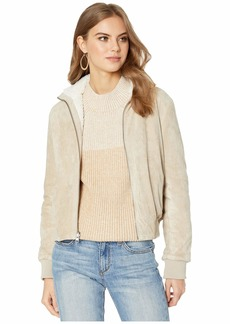 cupcakes and cashmere Kendal Reversible Faux Suede w/ Sherpa Flight Jacket