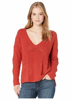 cupcakes and cashmere Maj Soft Boucle V-Neck w/ Drop Needle Pattern