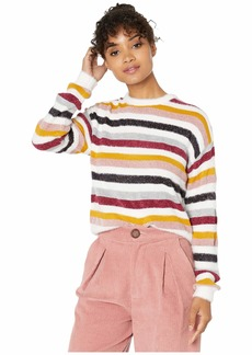 cupcakes and cashmere Rach Multi Stripe Crew Neck Sweater