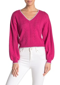 cupcakes and cashmere Ravi Metallic Trim V-Neck Sweater