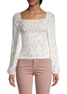 cupcakes and cashmere Savannah Puff-Sleeve Smocked Top