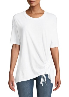 Current/Elliott Casson Short-Sleeve Cotton Tee w/ Drawstring Hem