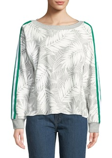 Current/Elliott Breck Palm-Print Side-Stripe Crewneck Sweatshirt