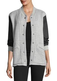Current/Elliott Classic Snap-Front Varsity Jacket w/ Contrast Sleeves
