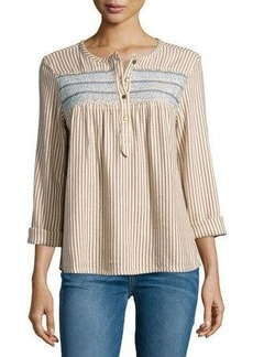 Current/Elliott Cotton-Blend Striped Henley Top