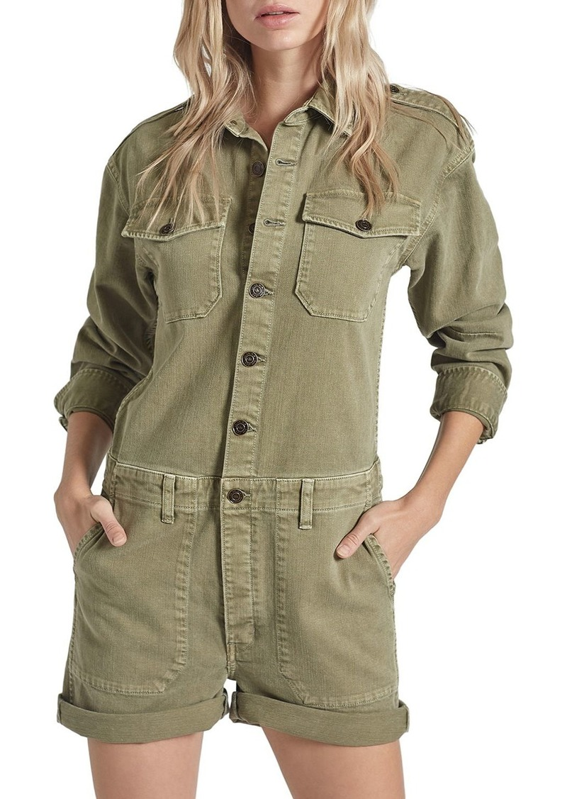 Current/Elliott Crew Button-Front Romper