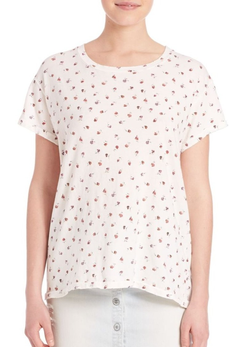 Current/Elliott Dirty White Rose Ditsy Print Crew Neck