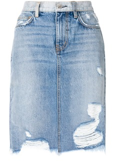 Current/Elliott distressed high-waisted skirt - Blue