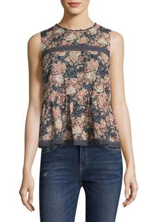 Current/Elliott Floral Peplum Cotton Tank Top