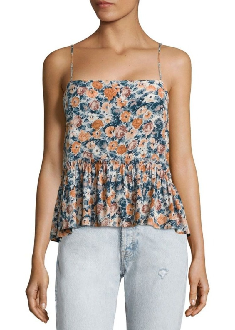 Current/Elliott Floral Peplum Cropped Top