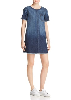 Current/Elliott Fringed Denim Shift Dress